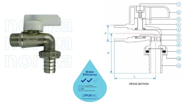 Brass CR Hose Union Tap C/W Chrome Plated (WELS 2 Ticks)
